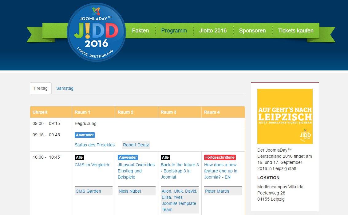JoomlaDay 2016 in Leipzig im September